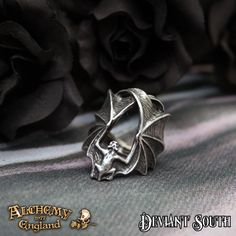 New Release! Alchemy Gothic AG-R216 Stealth UK Q  A large, antiqued pewter ring in the form of a creeping bat, with enormous outstretched wings covering the finger.