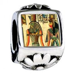 Egyptian Horus And Nefertiti Photo Flower Charms  Fit pandora,trollbeads,chamilia,biagi,soufeel and any customized bracelet/necklaces. #Jewelry #Fashion #Silver# handcraft #DIY #Accessory
