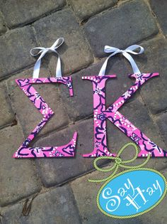 #Sigma #Kappa sorority letters inspired by Lilly Pulitzer #sorority print.