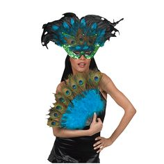 The Exotic Peacock Mask Kit will be the perfect finishing touch for your costume with its glitzy mask. #peacock #mask #costumeaccessory #accessoryavenue #Halloween