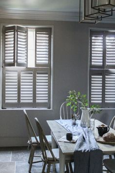 Tier on Tier Shutters Wooden Window Shutters, Wooden Windows, Custom Windows, Shutter Colors, Tall Windows, Interior Shutters, Neutral Paint, Modern Farmhouse, Interiors