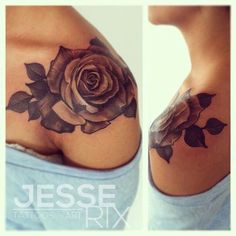 Love this rose tattoo #shoulder #tattoo #shading