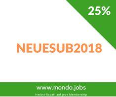 25% Herbst-Rabatt für jede Membership auf www.mondo.jobs