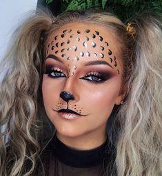 Fun art makeup Fun Kunst Make-up Leopard Makeup, Fox Makeup, Animal Makeup, Cat Halloween Makeup, Halloween Looks, Halloween Themes, Halloween Costumes, Fancy Makeup, Creative Makeup Looks