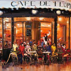 "Café de Flore Exterior Terrasse (48""x48"") Copyright Kal Gajoum 2013"