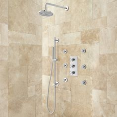 Exira+Thermostatic+Shower+System+-+Hand+Shower+&+6+Body+Jets+