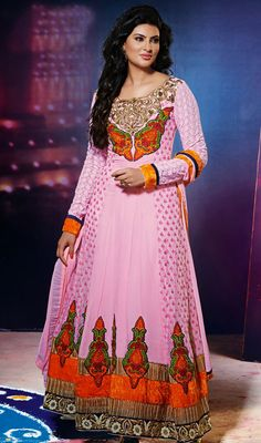Geeta Basra Pink Shade Georgette Net Long Anarkali Suit Price: Usa $135, British UK Pound £79, Euro99, Canada CA$144 , Indian Rs7290.