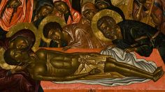 The Lamentation. Portable icon. Painted by the Cretan artist Emmanuel Lambardos. Late w6th-early 17th c. At the bottom of the icon there is a jar containing ...