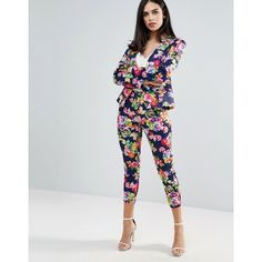 Unique 21 Floral Tailored Trousers ($23) ❤ liked on Polyvore featuring pants, capris, blue, slim trousers, flower print pants, floral trousers, tailored trousers and blue pants