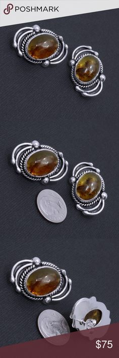 "Large Sterling Silver & Amber Earrings Stamped ""925"" & ""Mexico"".  This is not a stock photo. The image is of the actual article that is being sold  Sterling silver is an alloy of silver containing 92.5% by mass of silver and 7.5% by mass of other metals, usually copper. The sterling silver standard has a minimum millesimal fineness of 925.  All my jewelry is solid sterling silver. I do not plate.   Hand crafted in Taxco, Mexico.  Will ship within 2 days of order. Jewelry Earrings"