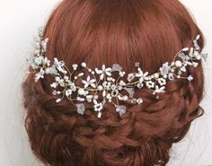 Isabelle Pearl Bridal Headdress, Bohemian Halo, Wedding Hair Vine, Bridal Forehead Jewellery