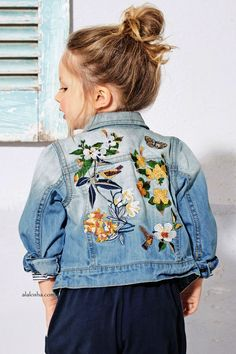 embroidery love on a kids jeans jacket