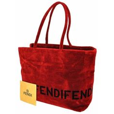 Pre-owned Fendi 100% Logos Tote Velvet Vintage Italy B25316a Shoulder... (29,970 PHP) ❤ liked on Polyvore featuring bags, handbags, tote bags, red, pocket tote, tote, logo tote bags and purse