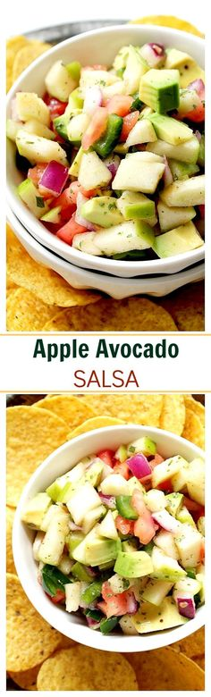 Apple Avocado Salsa with Honey-Lime Dressing - Chopped apples, avocado, tomatoes, onions and poblano chile tossed in a sweet, refreshing honey-lime dressing.