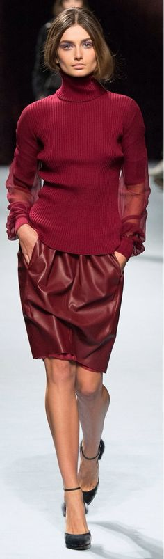 Nina Ricci Fall 2014: WHat a great combination - leather, sheer fabric and knit - all of them in a gorgeous shade of red!