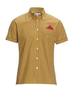 DR  MARTENS X BRUTUS SHIRT OXBLOOD YELLOW SMALL CHECK COTTON