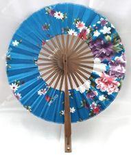Pretty Blue Japanese Folding Hand Silk Bamboo Flower Round Fan DIY Hot Art Craft