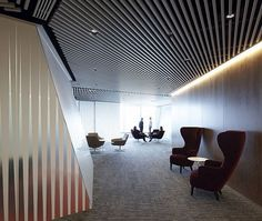 Elegant Transparent Office with Lavish Environment: Beautiful Ceiling Slat Style And Neon Lighting For Modern Office Design ~ moldse.com Architecture Inspiration