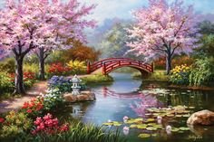 Global Gallery 'Japanese Garden in Bloom' by Sung Kim Original Painting on Wrapped Canvas Size: Belle Image Nature, Garden Tiles, Garden Art, Flora Und Fauna, Paint By Number Kits, Tile Murals, Mural Wall, Framed Wall, Wall Art Pictures