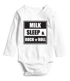 Baby Boy/Girl/Unisex Hand Printed Bodysuit Milk Sleep & by Mipka