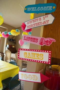 Directional sign for carnival circus party