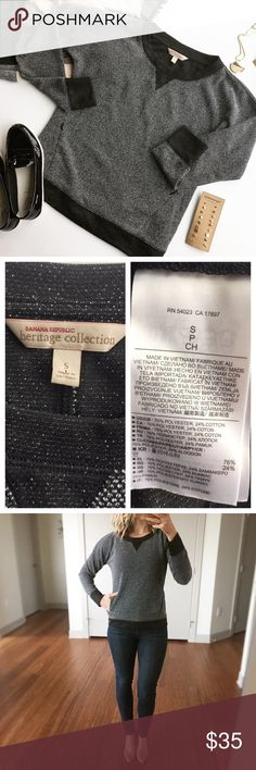 """- BANANA REPUBLIC - Heritage Tweed Sweatshirt Add a classy touch to loungewear with this tweed style crew neck sweatshirt with invisible zip front pocket. Wear casually with leggings and tall boots or dress up with a button down underneath and skinny jeans. Excellent pre-loved condition, no flaws. Approx. Measurements  Bust: 20"""" Length: 23"""" 🛍Bundle & Save 20% on 2+ items! 🙅🏼No trades / selling off of Posh.  ✨Offers always welcome!✨ Banana Republic Sweaters Crew & Scoop Necks"""