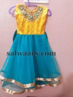 Blue Frock Floral Yoke - Indian Dresses