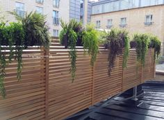 Bespoke Artificial Exterior Planting supplied in hanging rattan troughs