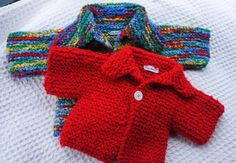 Red Handmade Knit Sweater for a 6 month Baby. From By Lala On etsy.  www.etsy.com/shop/bylala