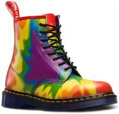 3ce7245776755 Dr Martens Unisex Tye Dye Pride Multi Colour Rainbow Leather 8 Eye Boots  LGBT