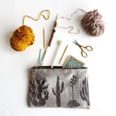 Cactus Pouch  Linen by ameliemancini on Etsy, $38.00