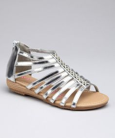 Take a look at this Silver Shiny Strappy Sandal by Modit on #zulily today!