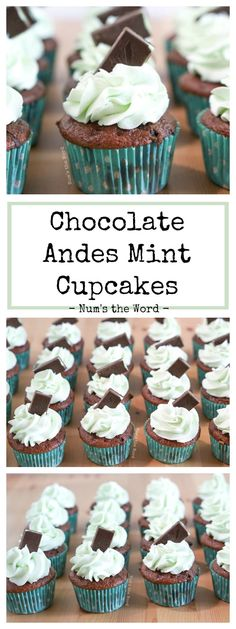 Chocolate Andes Mint Cupcakes are flavorful cupcakes that taste like they came from a bakery! These cupcakes are one of my most requested flavors, are quick to create and loved by any Andes Mint lover! Gourmet Cupcakes, Yummy Cupcakes, Cupcake Recipes, Cupcake Cakes, Dessert Recipes, Mini Cupcakes, Mint Desserts, Peanut Butter Desserts, Easy Desserts