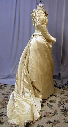 1890s golden silk wedding gown.