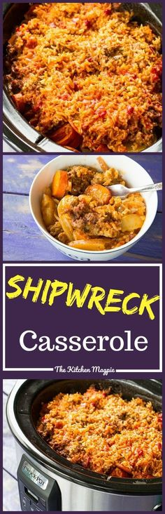This quick and easy classic can also be done in your slow cooker! Recipe from magpie. food recipes crockpot cheap Shipwreck Casserole (In the Slow Cooker) Crockpot Dishes, Crock Pot Slow Cooker, Slow Cooker Recipes, Crockpot Recipes, Cooking Recipes, Crock Pots, Hamburger Recipes, Beef Dishes, Seafood Dishes