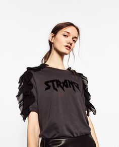 T-SHIRT WITH QUILTING ON THE SHOULDERS-EVENING-WOMAN | ZARA United States