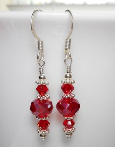 Light Siam Red Swarovski Crystal and Silver Beaded Earrings