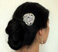 Rhinestone Freshwater Pearl Bridal Hair Comb from Etsy