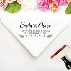 Calligraphy Address Stamp - Personalized Wedding Address Stamp - Couples Address Stamp - Newly Engaged Gift - Large Names Address Stamp by SouthernPaperAndInk #Weddingstamp  #addressstamp #diywedding #modernbride