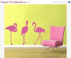 40% off SUMMER SALE Wall Decal Flamingos Vinyl Wall Art Decor Decal Bird