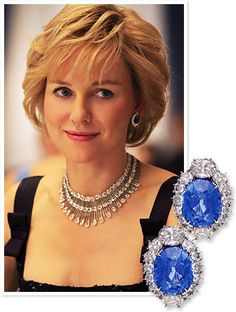 Chopard was just announced as the official jeweler for Diana, the forthcoming biopic starring Naomi Watts as the late Princess of Wales. The famed jewelry house made sure to recreate Diana's sparklers just so—including these 20-carat sapphire earrings set in white gold surrounded by 28 diamonds. http://news.instyle.com/2012/08/21/diana-movie-chopard-diamonds/#