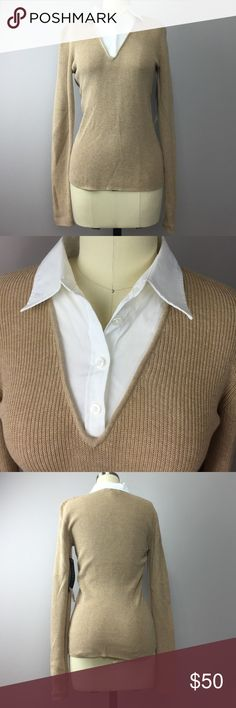 """Ralph Lauren Fall Classic Camel Top S Classic and classy! Camel knit top with white collared shirt neckline. This is one single piece. 100% cotton. Size S. 15"""" armpit to armpit flat. A844 Lauren Ralph Lauren Tops Blouses"""