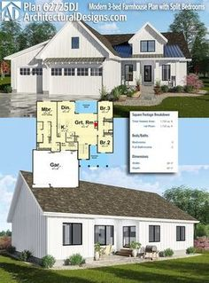 Architectural Designs Farmhouse Plan gives you and over square feet of heated living area. Where do YOU want to build? dekorieren Plan Modern Farmhouse Plan with Split Bedrooms The Plan, How To Plan, Modern Farmhouse Plans, Farmhouse Style, Cottage Farmhouse, French Farmhouse, Farmhouse Ideas, Farmhouse Design, Cottage Style