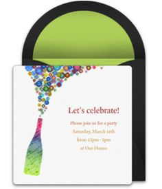 Customizable, free Champagne Pop online invitations. Easy to personalize and send for a birthday party or any special celebration. #punchbowl