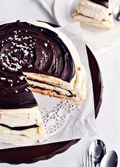 * Mascarpone Meringue Cake ~ As a cake layer in this dessert, you get 3 layers of this amazing taste and texture, sandwiching the fluffiest, creamiest, and most flavourful mascarpone/whipped cream/Creme de Cacao filling, and then, oh, and then, layers of rich, dark, truffle-textured chocolate ganache swirled in between it all.