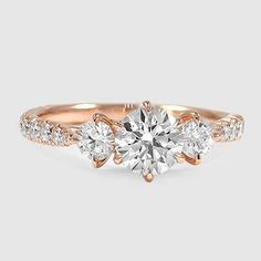 14K Rose Gold Gramercy Diamond Ring // Set with a 0.81 Carat, Round, Ideal Cut, I Color, VS2 Clarity Diamond #BrilliantEarth