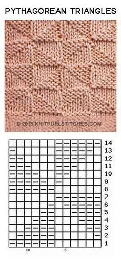 Just Knit and Purl - Pythagorean Triangles. Just Knit and Purl Pythagorean Triangles. Just Knit and Purl Knitting Stiches, Arm Knitting, Knitting Charts, Baby Knitting Patterns, Knitting Socks, Knitting Designs, Knitting Needles, Knitting Projects, Crochet Stitches