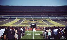 "Wedding at ""The Big House"" - University of Michigan Stadium, where the Michigan Wolverines play football."