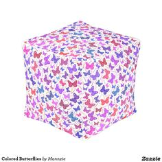 Colored Butterflies Pouf