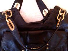 NEW TAHARI BLACK  LEATHER HANDBAG/SHOULDER BAG-SATIN GOLD HARDWARE - NEW  #Tahari #ShoulderBagHandbag
